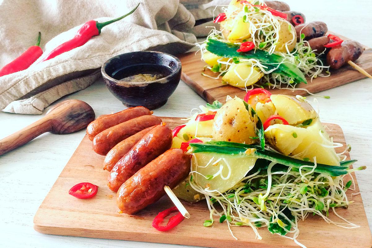 Chipotle & Chorizo -spett med eldig potatissallad