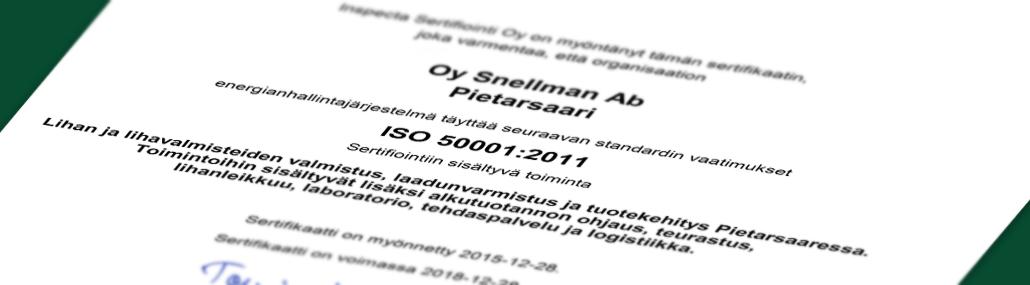 Snellmanille ISO 50001 -sertifikaatti