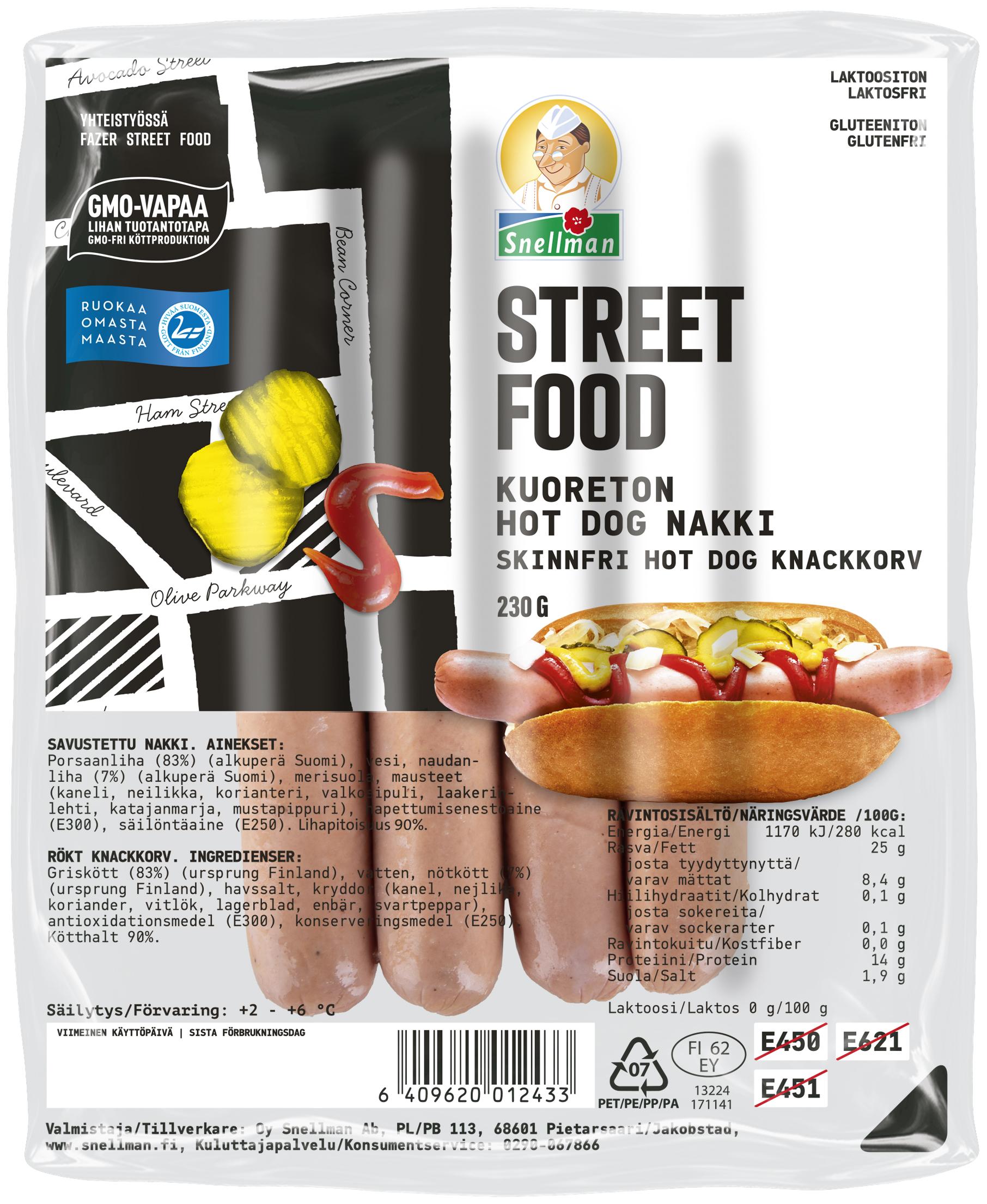 Street Food Kuoreton Hot Dog nakki 230 g