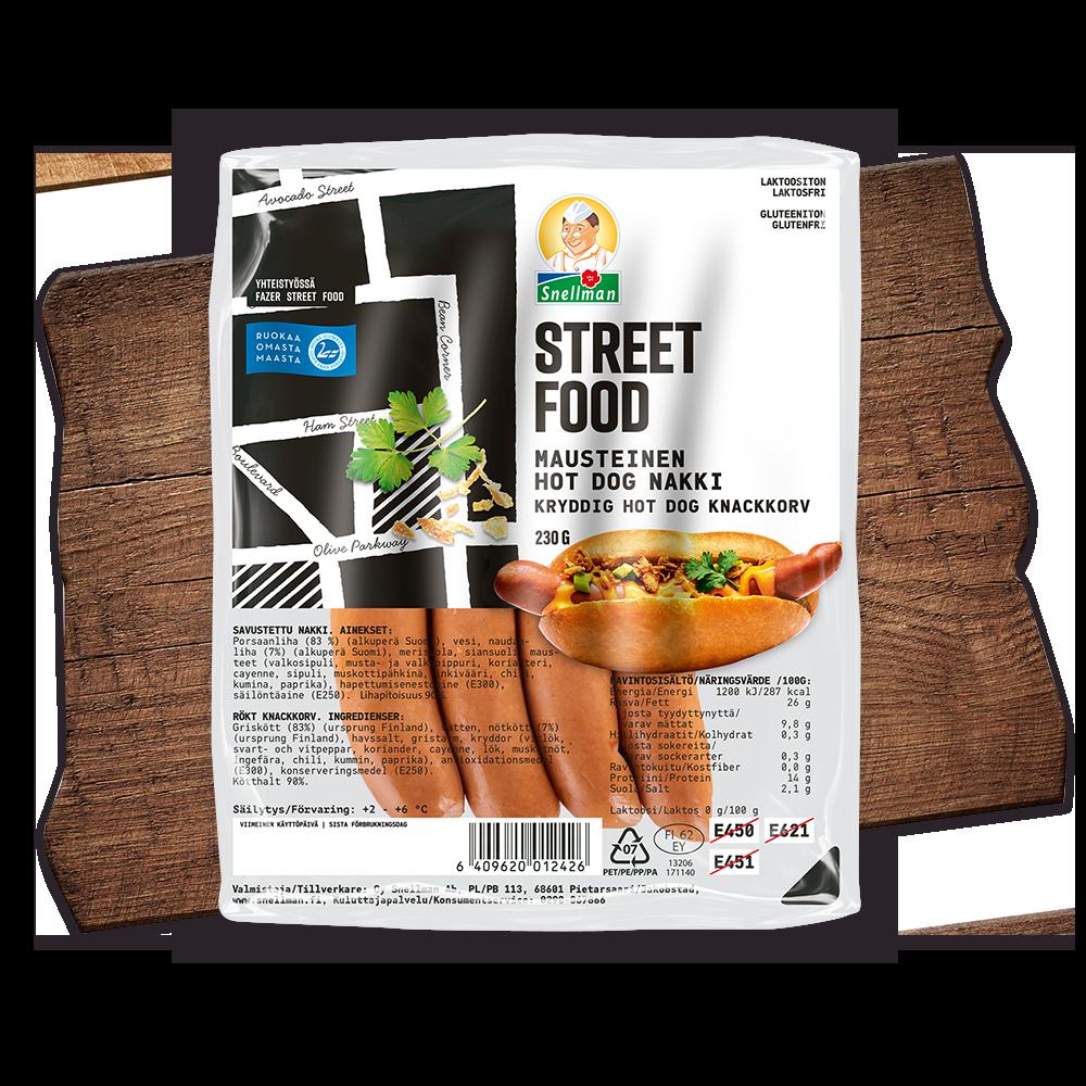 Street food kryddig hot dog knackkorv